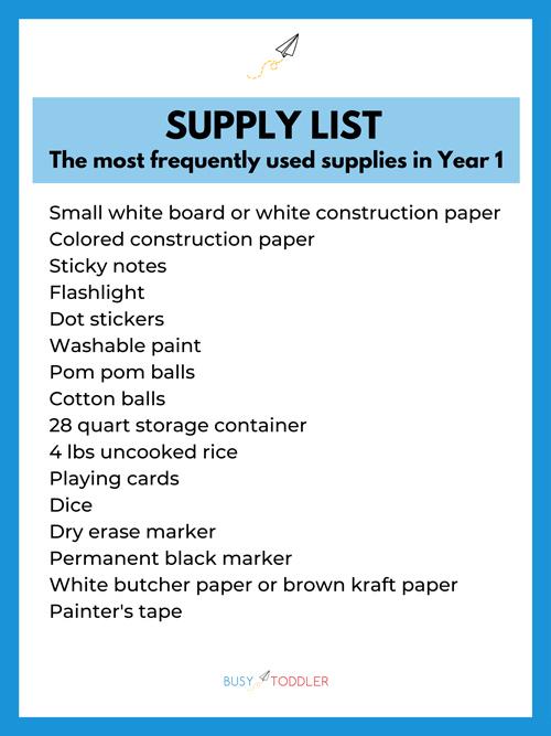 Year 1 supply list for Playing Preschool